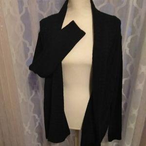 Fresh Black Open Sweater, Size XL